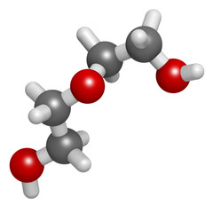 Diethylene glycol chemical solvent molecule. Highly toxic.