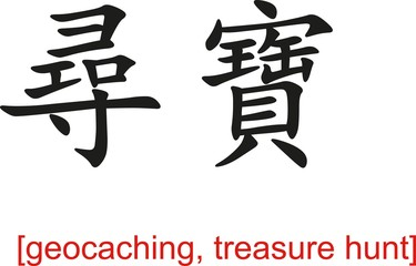Chinese Sign for geocaching, treasure hunt