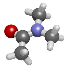 Dimethylacetamide (DMAc) chemical solvent molecule.
