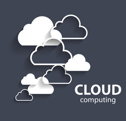 Cloud Computing Concept on Different Electronic Devices. Vector