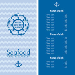 seafood menu design