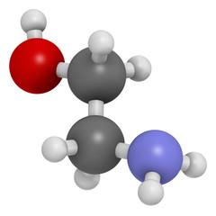 Ethanolamine (2-aminoethanol) molecule.