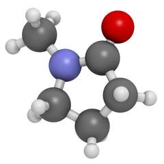 N-methyl-2-pyrrolidone (NMP) chemical solvent molecule.