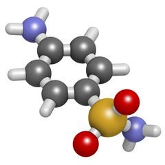 Sulfanilamide (sulphanilamide) sulfonamide antiobiotic molecule.