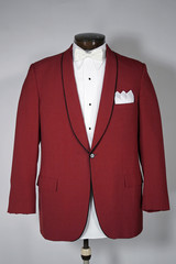 Vintage Red Tuxedo Tux Jacket Coat Shawl Collar Men's Fashion