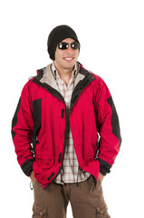 young man posing wearing red winter coat