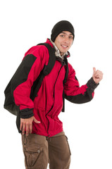 young man wearing red winter coat hitchhiking