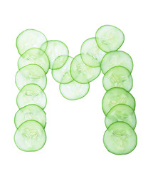 Letters and numbers alphabet of  cucumbers