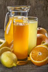 Orange juice and lemonade with orange, lemon and grapefruit