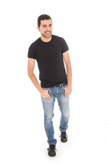 young man jeans black t-shirt posing