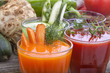 Vegetable juices of carrot, cucumber, beetroot and tomato