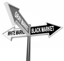 Black Gray White Market Road Street Signs Three Way Economy