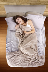 young adolescent female having abdominal cramps in the morning