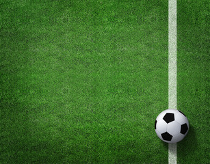 Soccer field with soccer ball and line