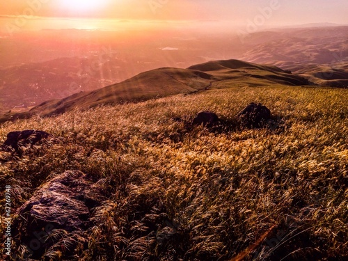 canvas print picture san francisco bay area at sunset