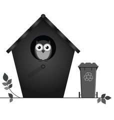Monochrome birdhouse with recycling bin