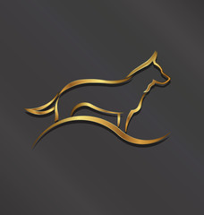 Dog gold styled silhouette image. Concept of animal pet