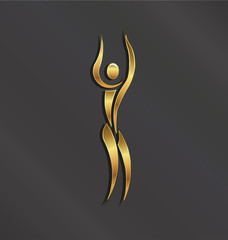 Golden Yoga person. Concept for spa logo
