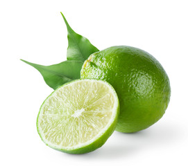 Sour lime with green leaves