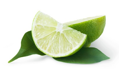 Slice of sour lime green with leaves