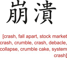 Chinese Sign for crash, fall apart, stock market crash, crumble