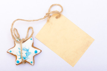 christmas cookie with blank card