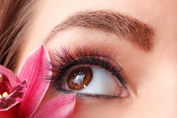 Close up of colorful eyelash extensions