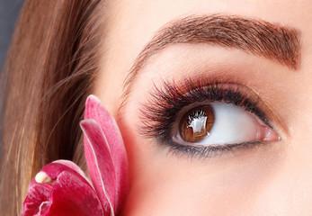 Portrait of colorful eyelash extensions
