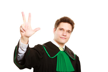Law. Man lawyer in polish gown counting on fingers