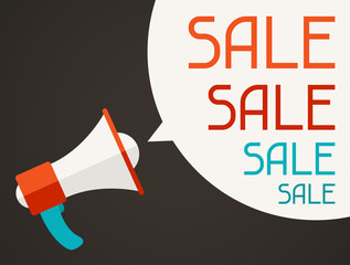 Sale poster with megaphone in flat design style.