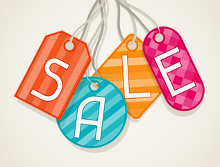 Sale poster with price labels in flat design style.