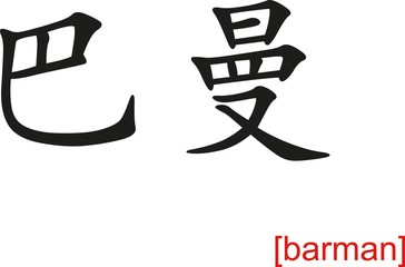 Chinese Sign for barman