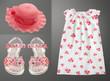 Summer vintage set of kid clothes.Collage female wear.