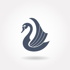 Art deco inspired swan icon