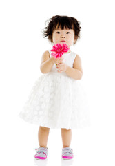 cute baby holding flower