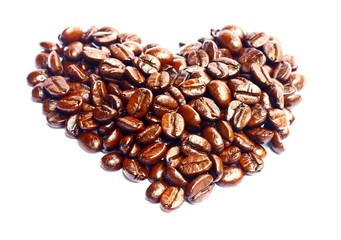 Roasted Coffee Beans in heart shapes