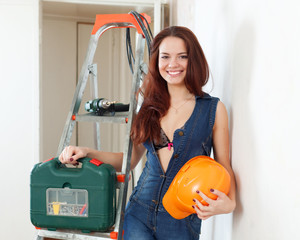 Sexy beauty woman with hardhat