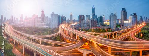 Leinwanddruck Bild Shanghai Verkehr