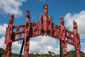 carved Maori totem in Paihia, New Zealand