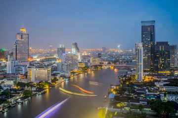 Bangkok City at night time, Hotel and resident area in the capit
