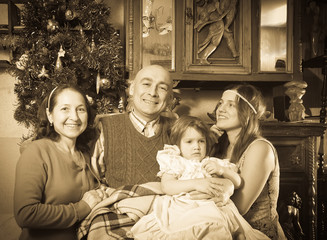 old portrait of happy  family in Christmas