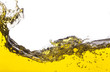 abstract image of a yellow liquid spilled. On a white background - 67273596