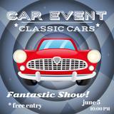 Retro car event poster