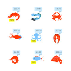 Seafood price icons set