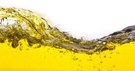 abstract image of a yellow liquid spilled. On a white background