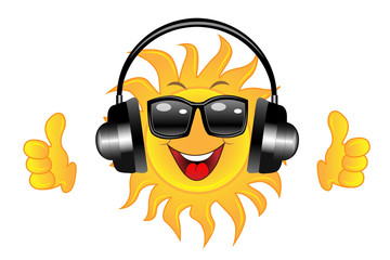 merry sun spectacled and headsets on white background