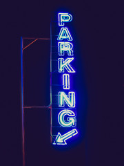 Retro look Parking sign neon light