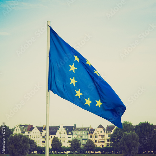 canvas print picture Retro look Flag of Europe