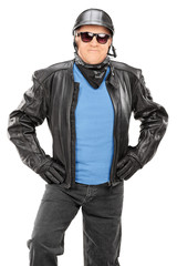 Mature biker with leather jacket