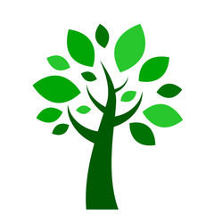 TREE icon with green leaves (symbol icons silhouette)